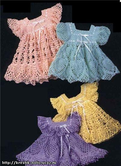 Платья крючком для малышей со схемами