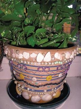 украшение цветочных горшков бисером фото чем заказать яхту