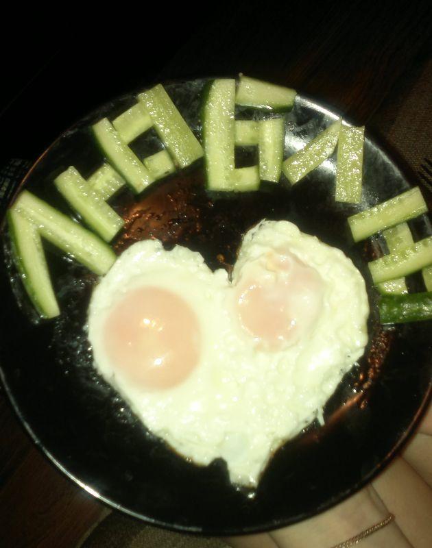 Вот такой завтрак приготовил муж)