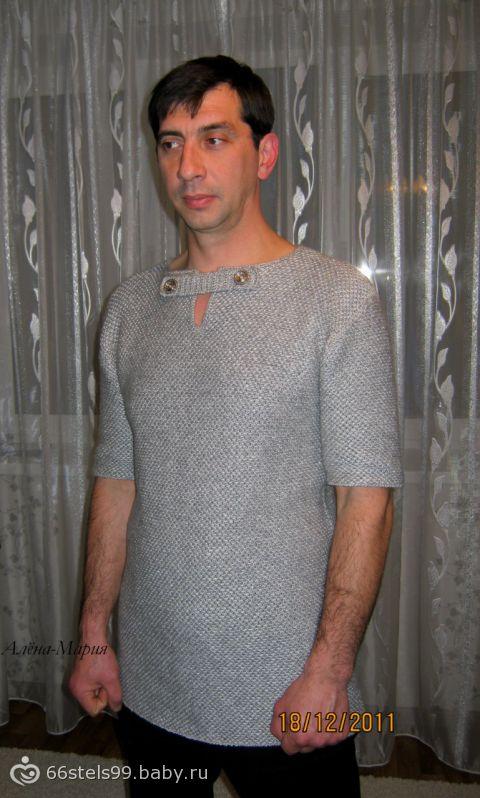 Вязание мужского свитера узором кольчуга